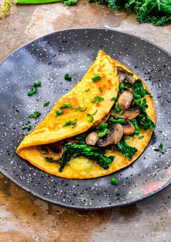 omelette with mushrooms on plate