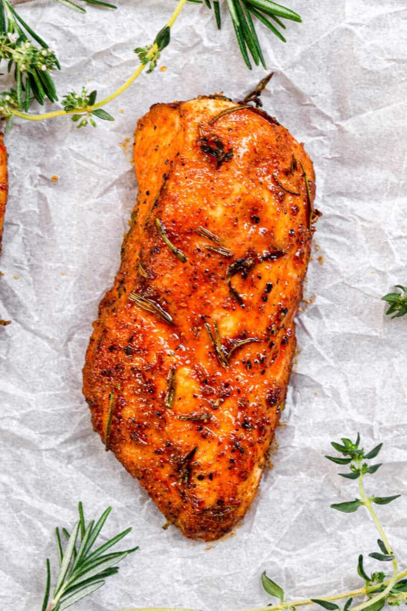top down shot of Juicy Baked Chicken
