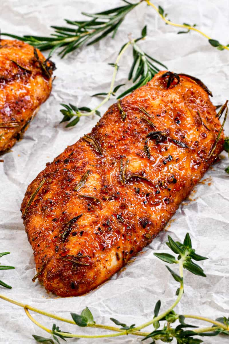 Juicy Baked Chicken on parchment