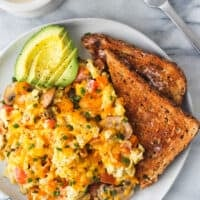 loaded scrambled eggs with toast