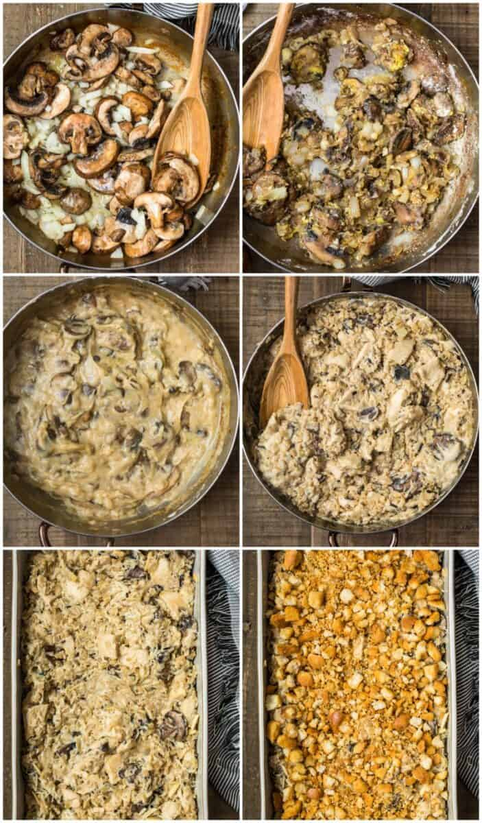 step by step photos for making chicken wild rice casserole