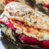 up close image of tuscan stuffed chicken