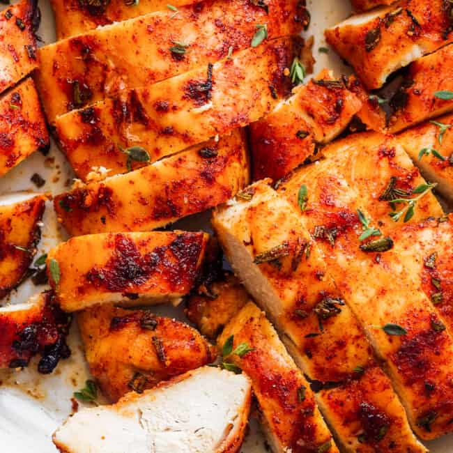 up close sliced baked chicken breast on large plate