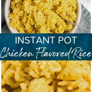instant pot chicken flavored rice pinterest collage
