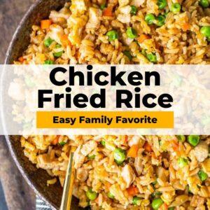 chicken fried rice pinterest collage