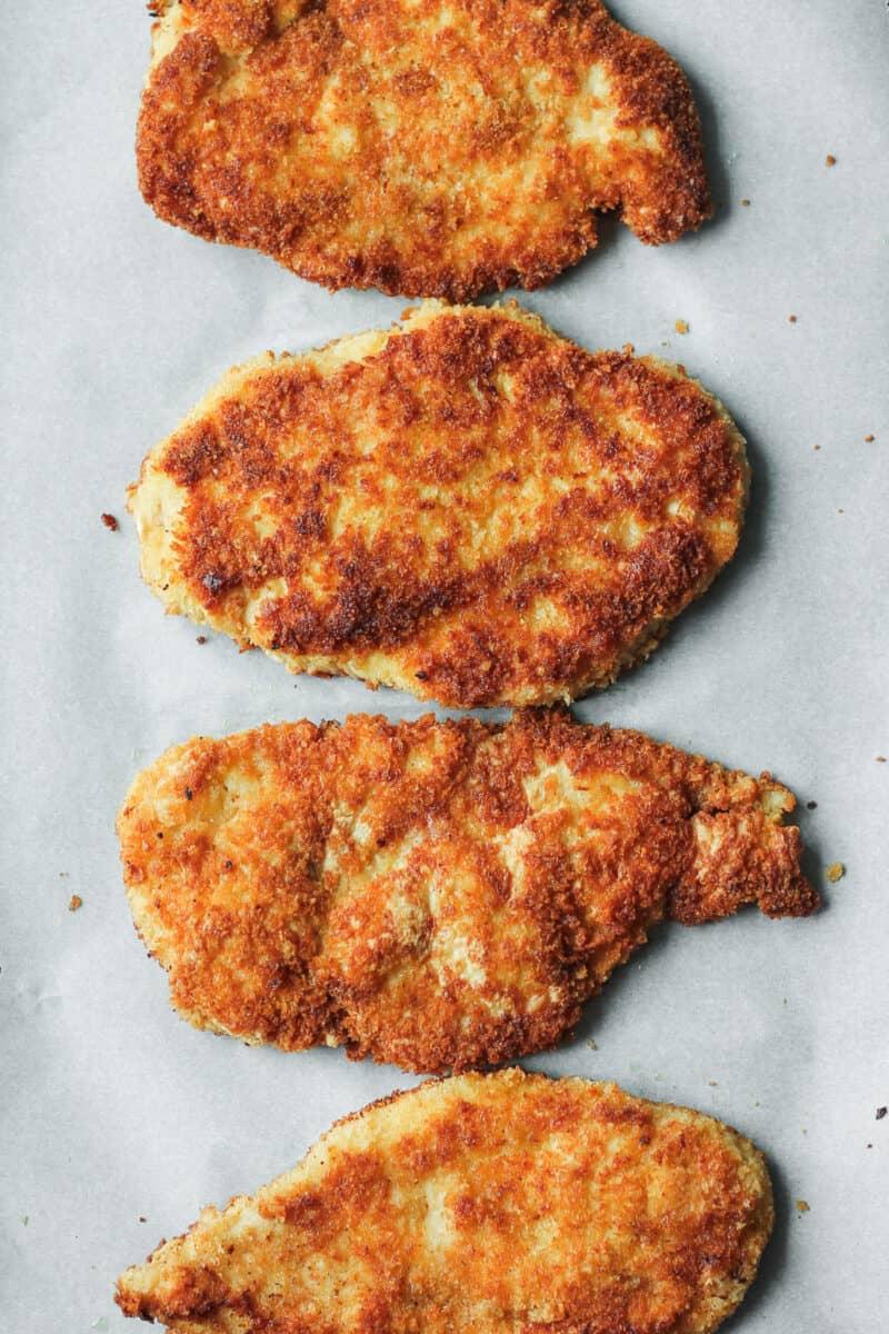 chicken breasts breaded