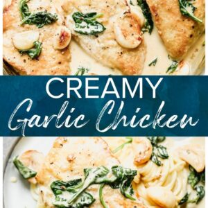 creamy garlic chicken pinterest collage