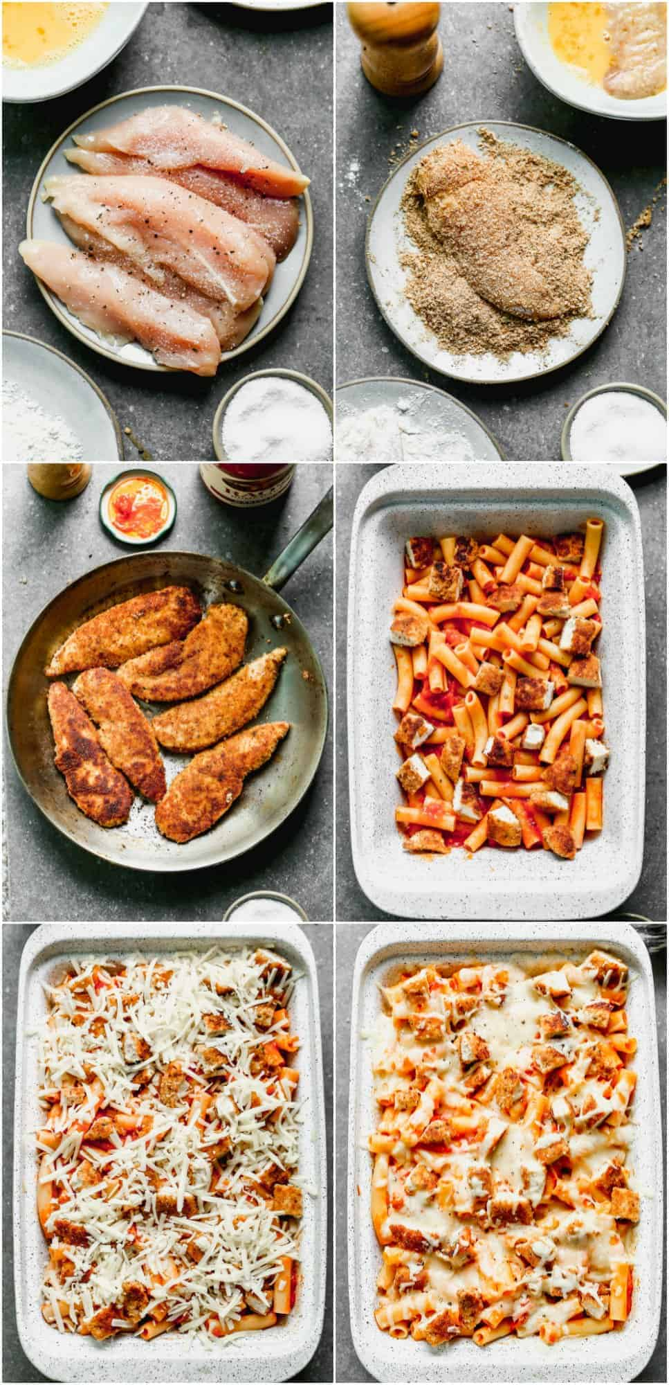 collage of how to make chicken parmesan baked ziti
