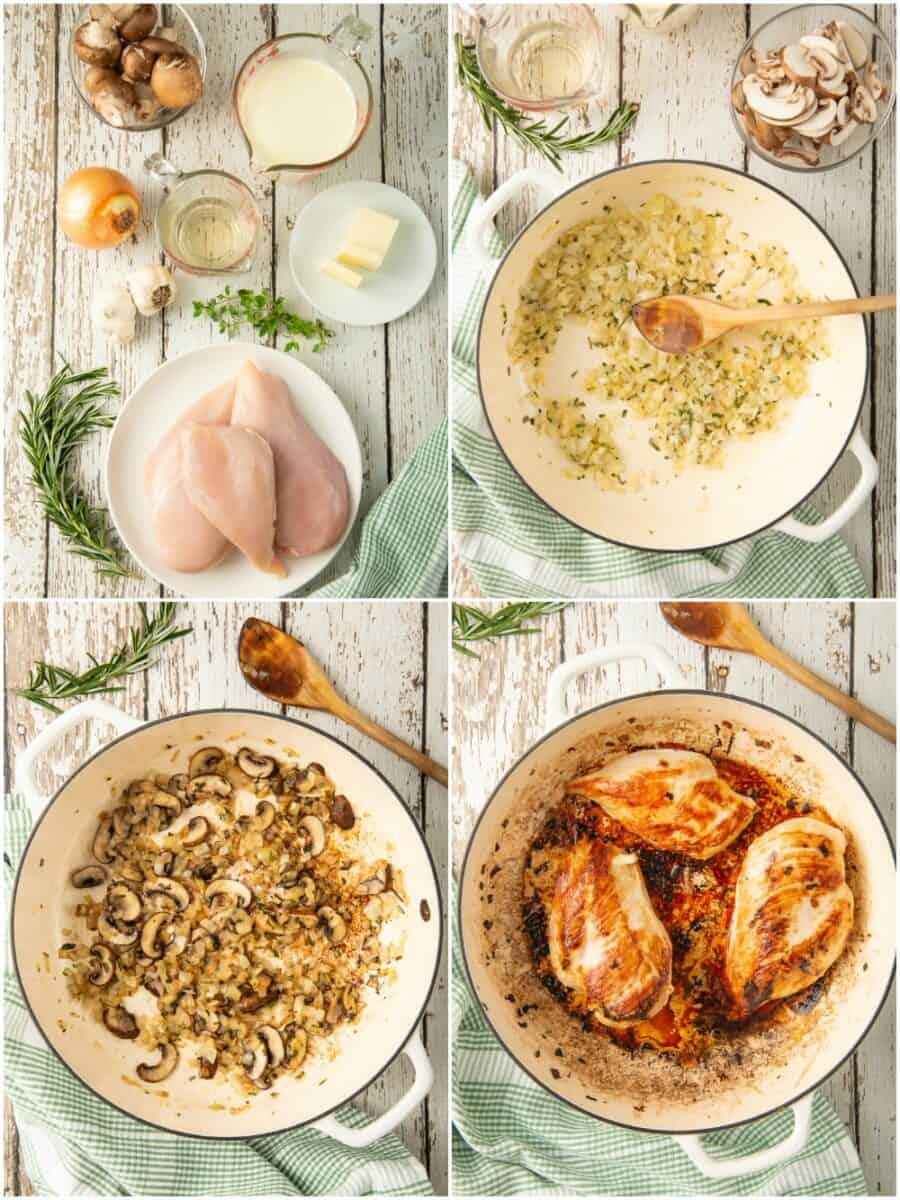 step by step photos of making chicken in mushroom cream sauce