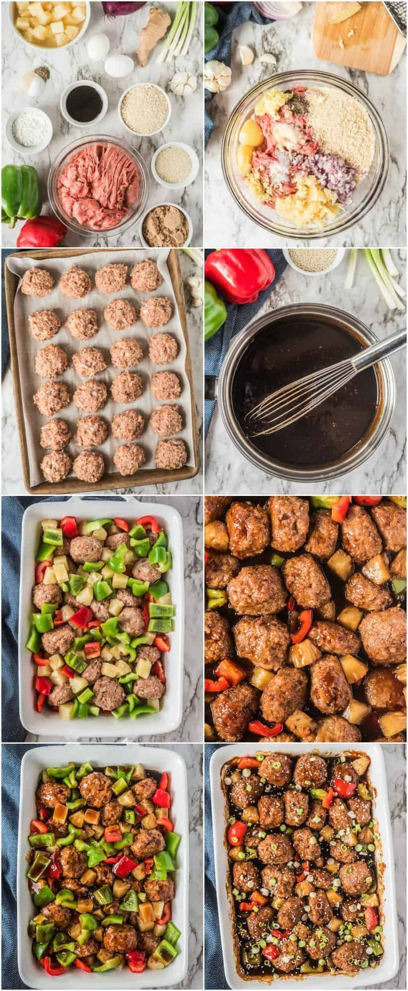 step by step photos of making hawaiian chicken meatballs