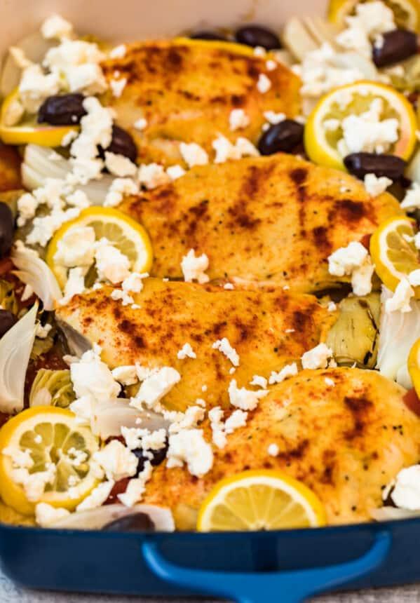 casserole dish with greek chicken inside