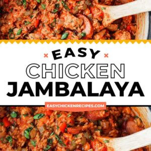 chicken jambalaya pinterest collage