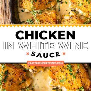 chicken in white wine sauce pinterest collage