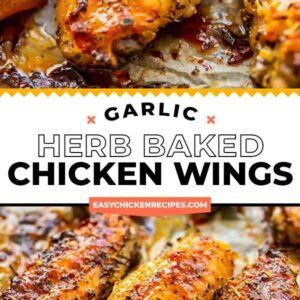 garlic herb baked wings pinterest collage
