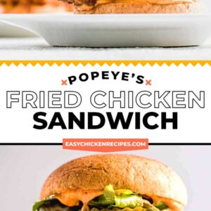 popeye's fried chicken sandwich pinterest collage