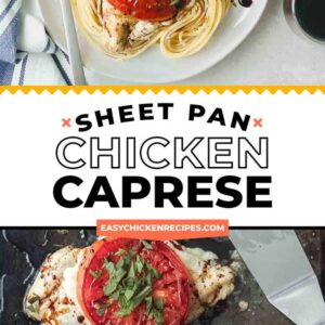 sheet pan chicken caprese pinterest collage