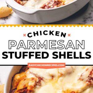 chicken parmesan stuffed shells pinterest collage
