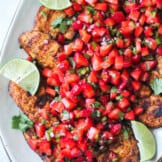 grilled chicken topped with strawberry salsa