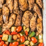 baked balsamic chicken on sheet pan with veggies