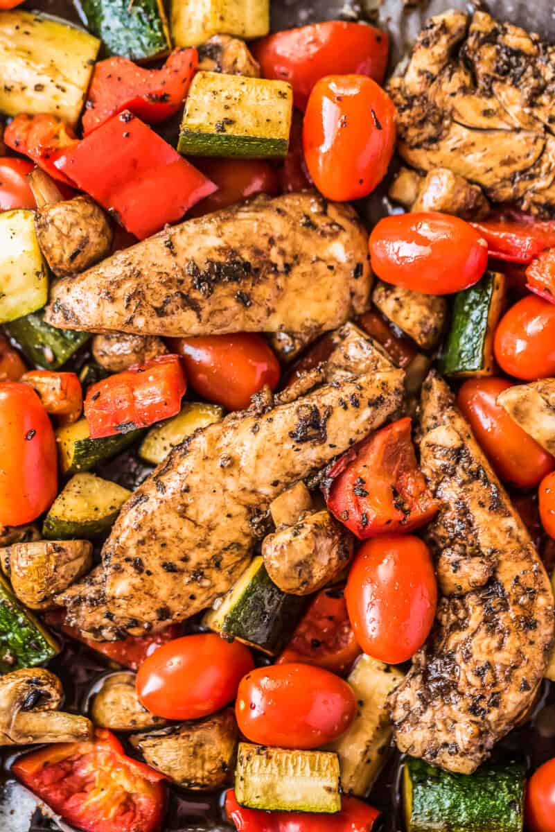 up close image of chicken in balsamic marinade