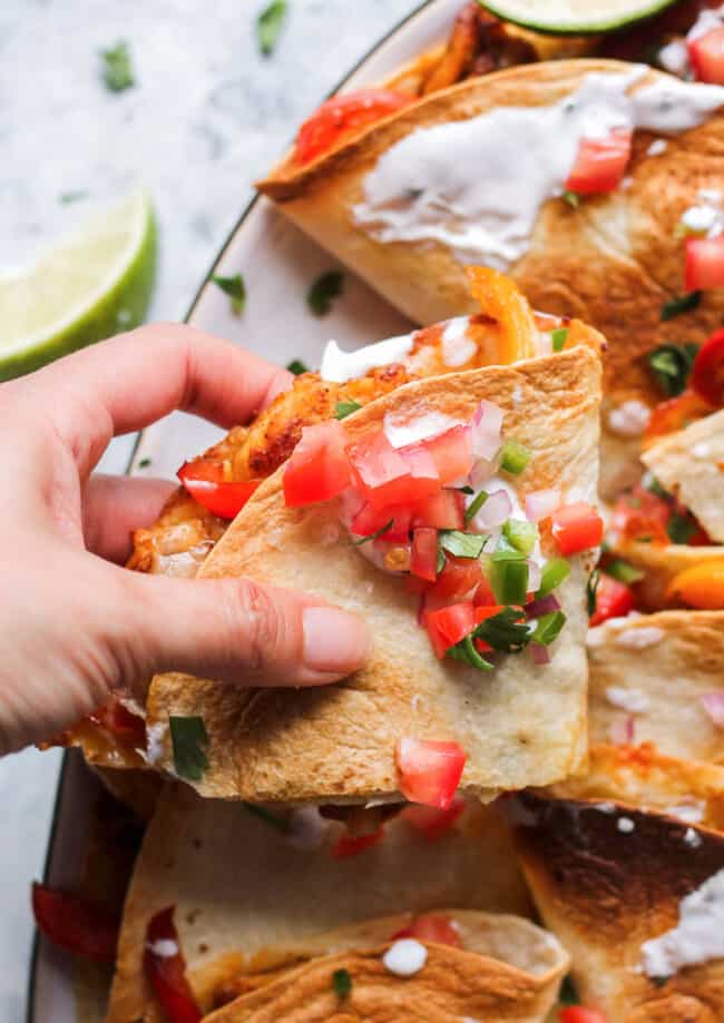 up close image of chicken quesadillas sliced