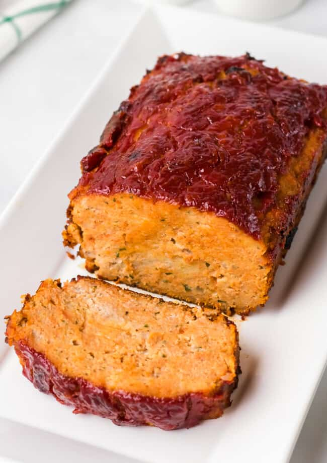 side shot of meatloaf made with chicken