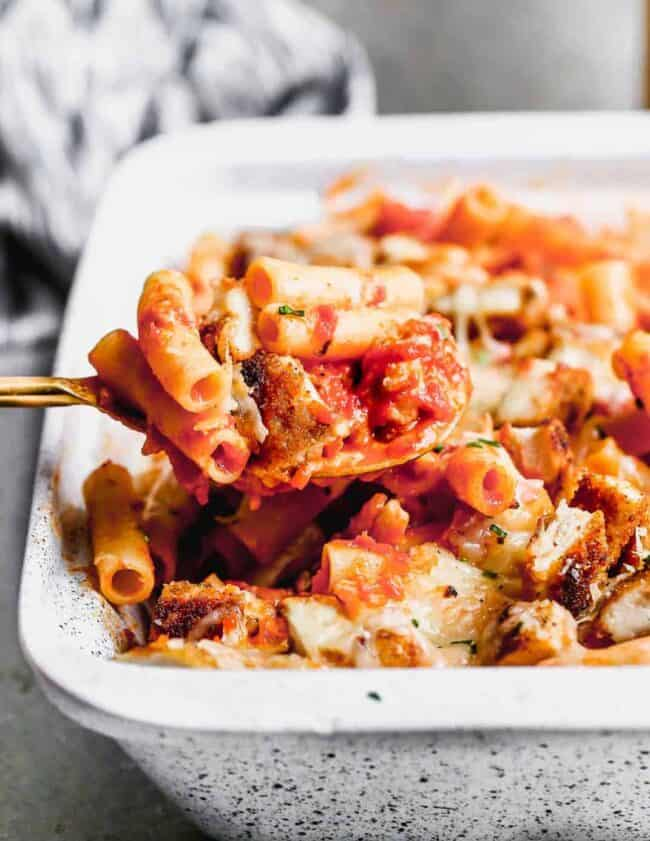 chicken parmesan baked ziti in baking dish