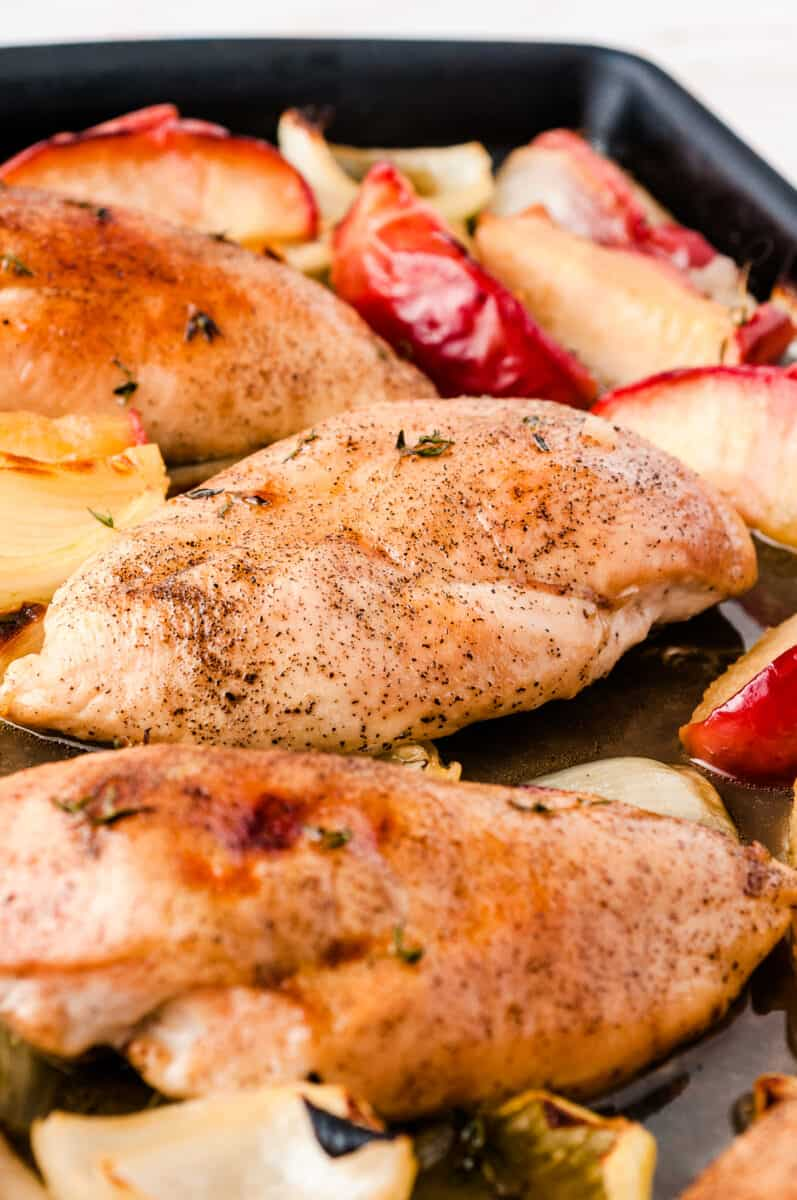 chicken breasts on sheet pan
