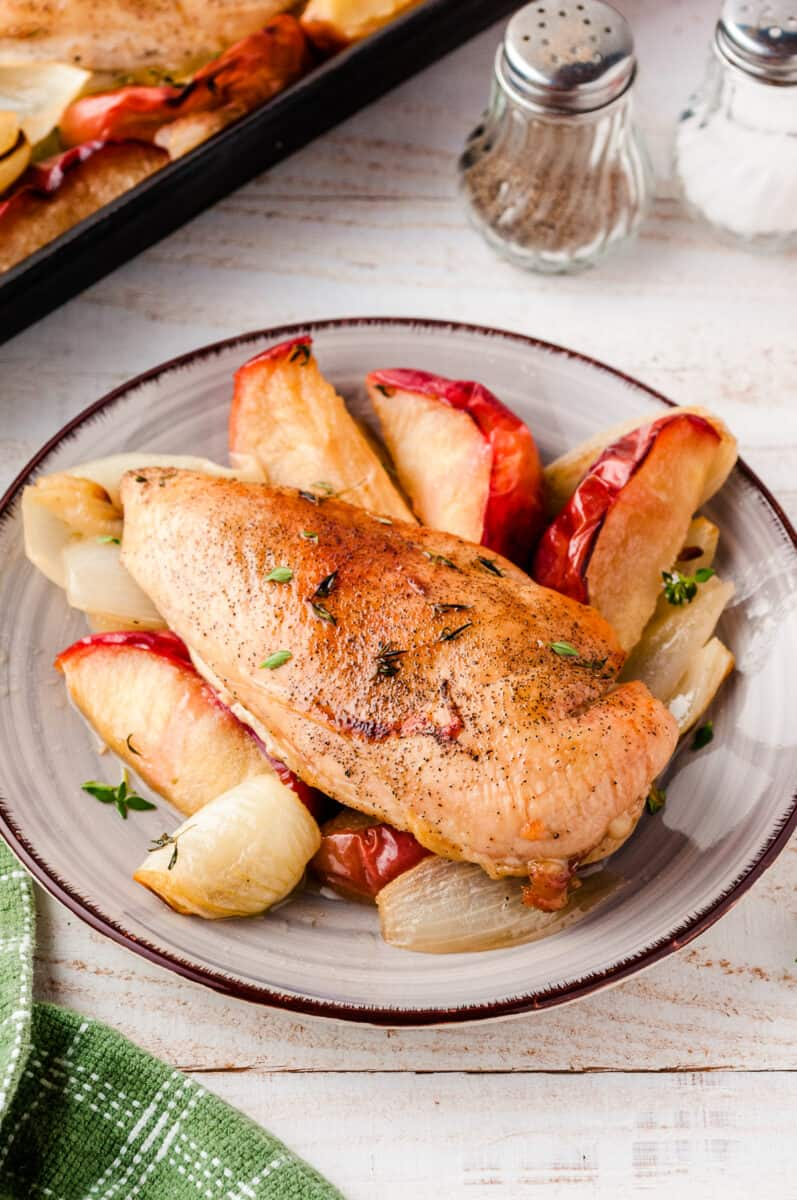 plate with chicken breast, apple slices, and onion