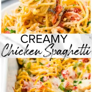 creamy chicken spaghetti pinterest collage