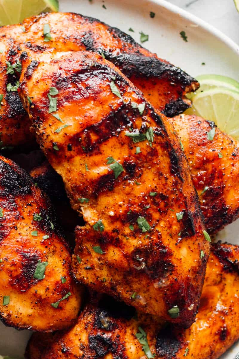 up close image of grilled chicken breast with marinade