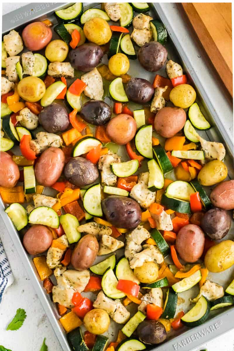 chicken and veggies baked on sheet pan