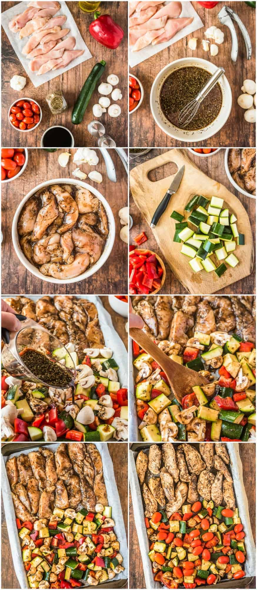 step by step photos of how to make sheet pan balsamic chicken