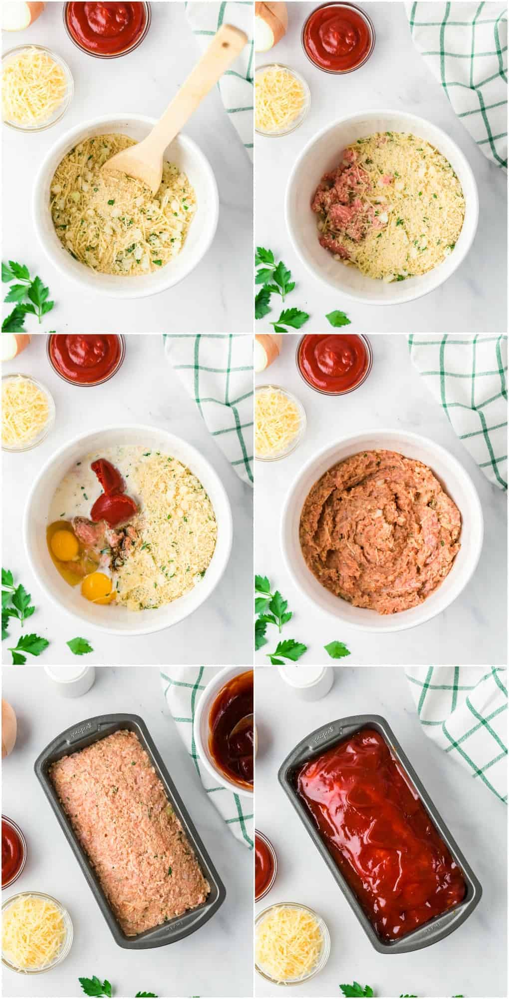 step by step photos of how to make chicken meatloaf with sauce