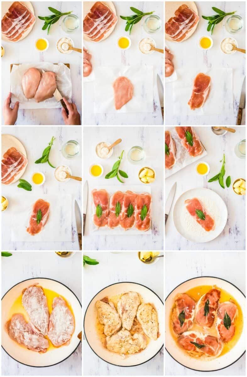 step by step photos of how to make chicken saltimbocca