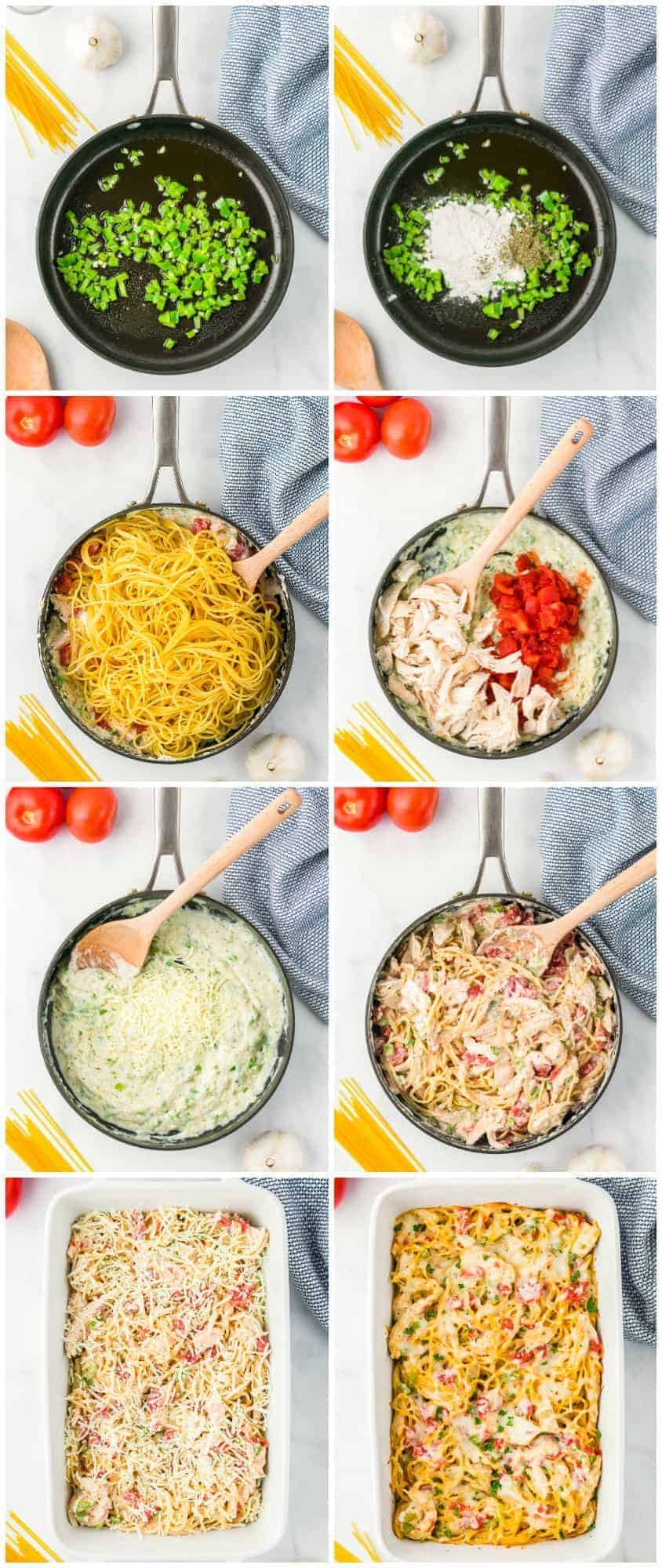 step by step photos of how to make creamy chicken spaghetti
