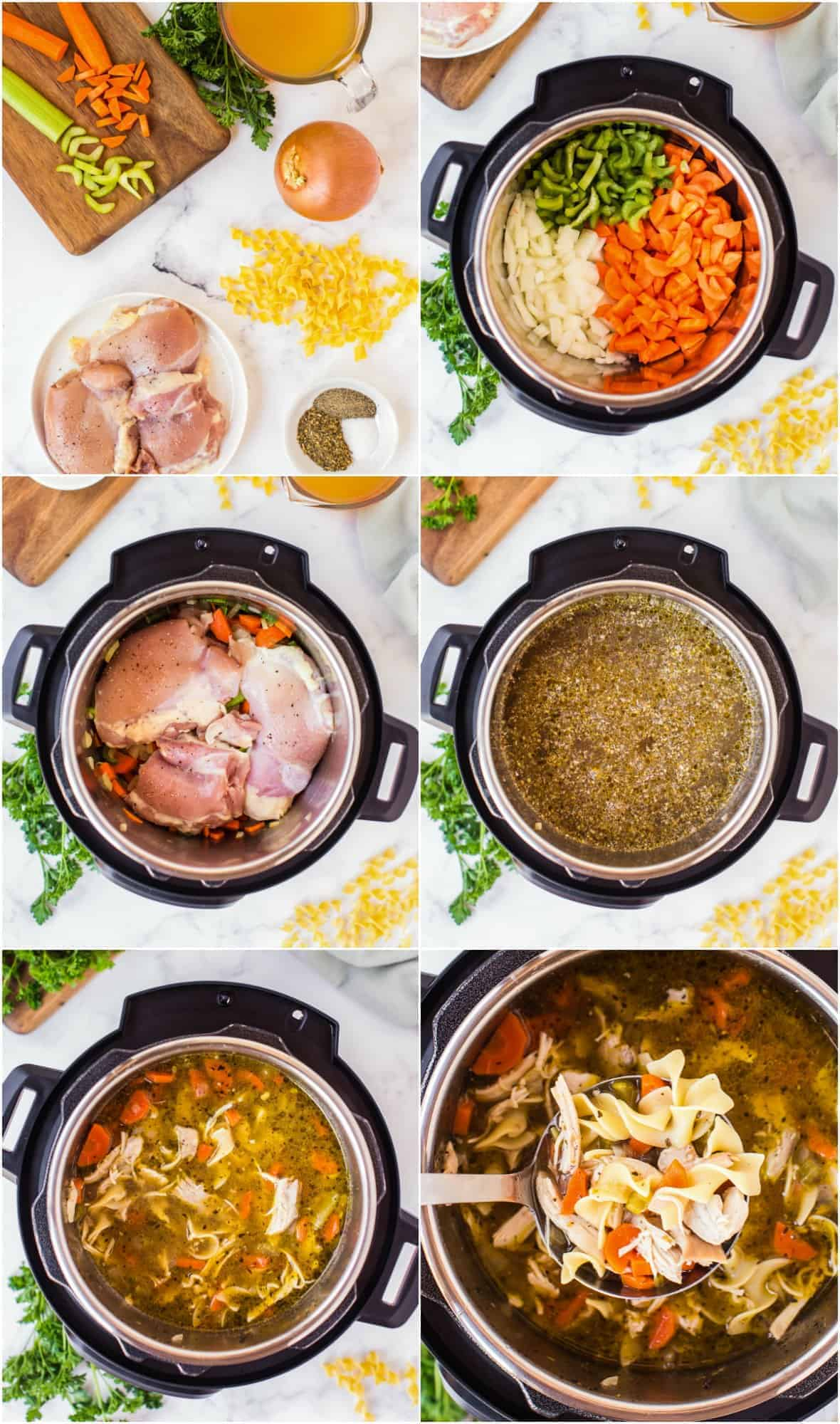 step by step photos of how to make instant pot chicken noodle soup