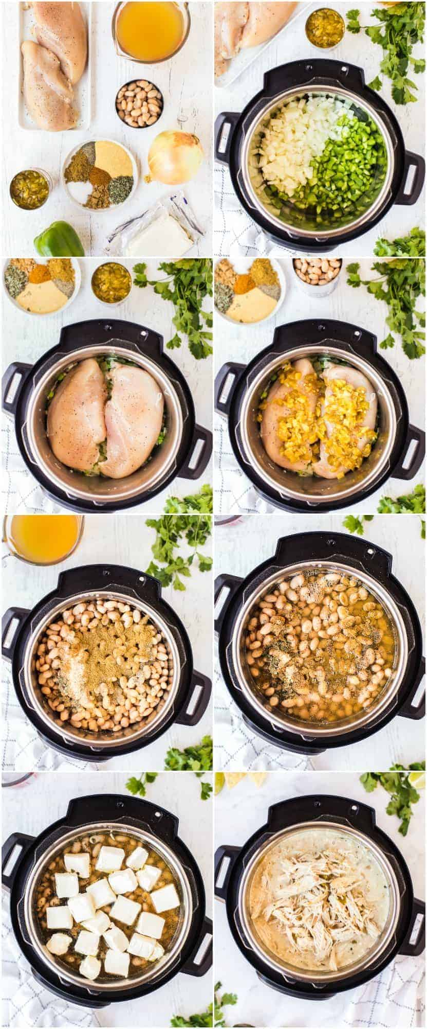 step by step photos of how to make instant pot white chicken chili
