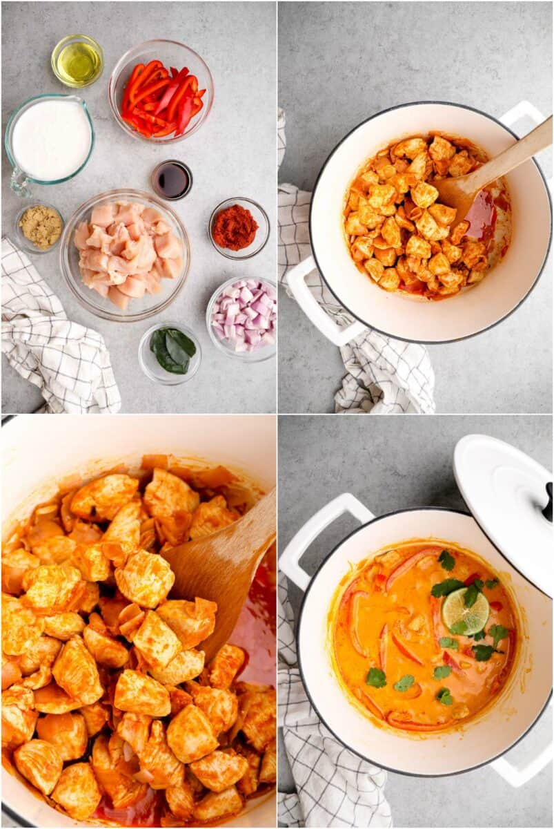 step by step photos for how to make thai red curry chicken