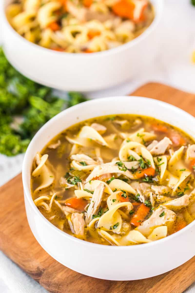 side shot of chicken noodle soup in bowl