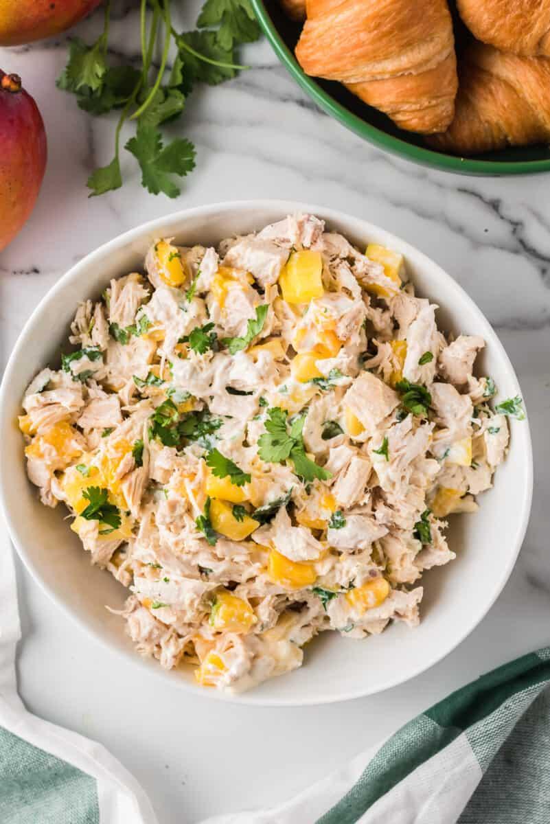 bowl of mango chicken salad