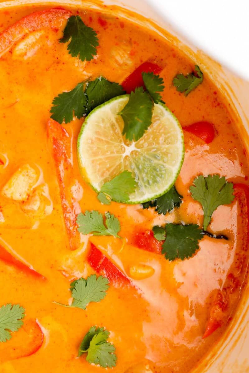 red curry chicken in pot