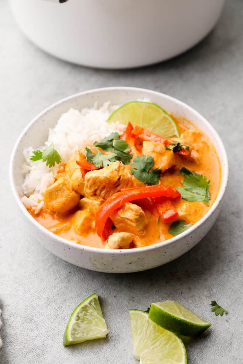 white bowl filled with red curry chicken