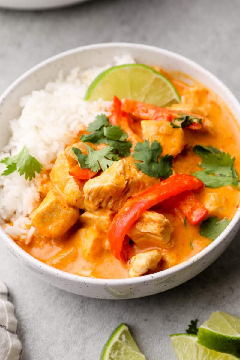 side image of thai red curry chicken in bowl with rice