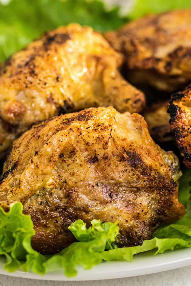 up close image of air fried chicken thighs
