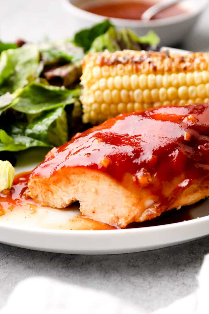 sliced chicken with apple cider bbq sauce