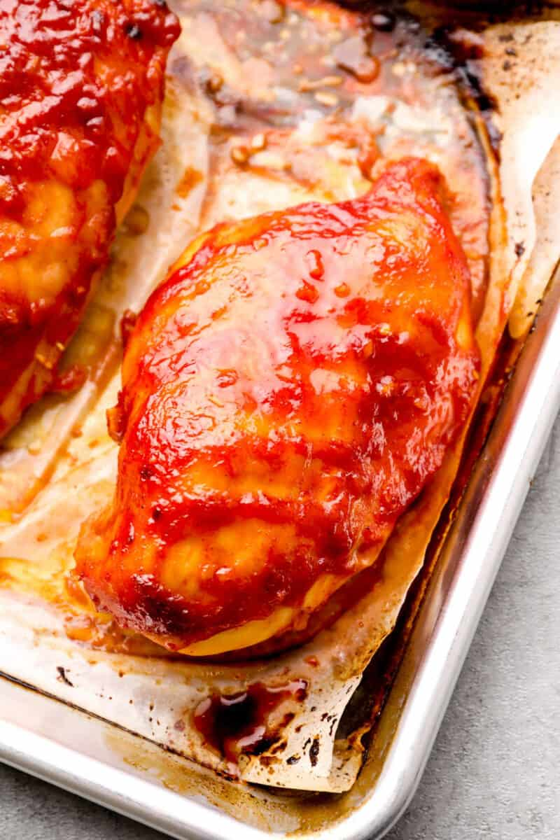 baked bbq chicken on parchment