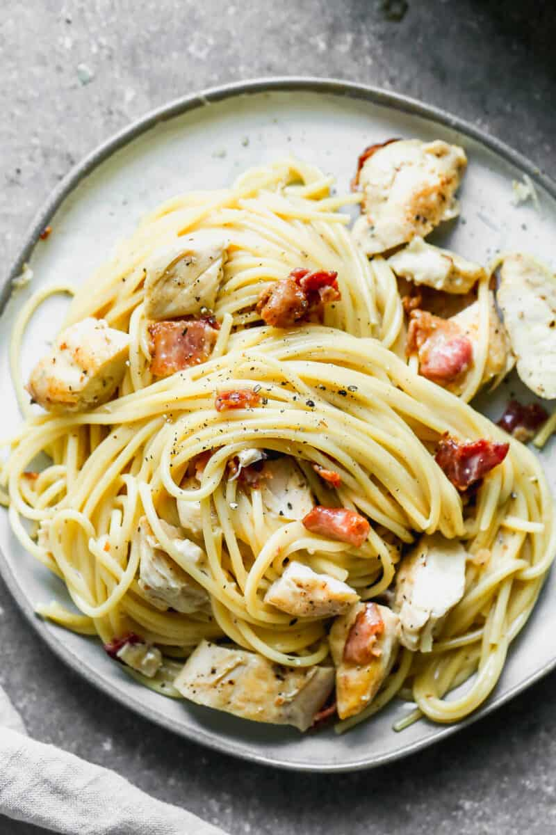 chicken carbonara styled on plate