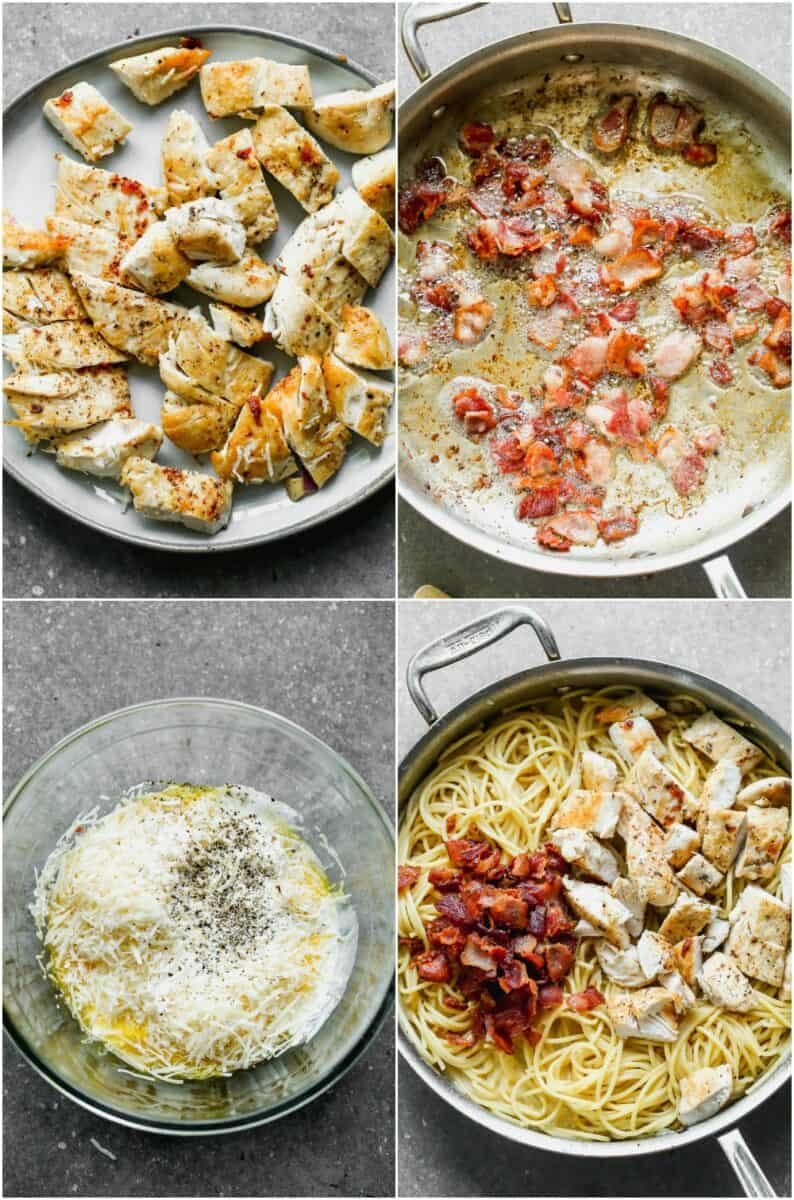 step by step photos of how to make chicken carbonara