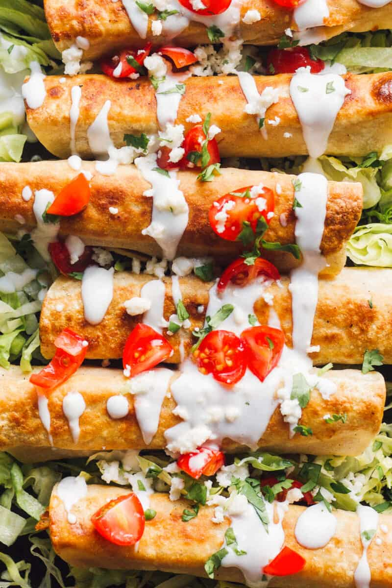 fried chicken flautas with sour cream